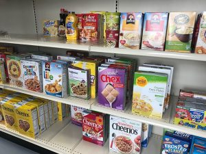 cereal on pantry shelves